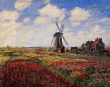 Field Canvas Paintings - Field of Tulips in Holland