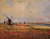 Flowers Canvas Paintings - Fields of Flowers and Windmills near Leiden