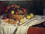 Claude Monet Wall Art - Fruit Basket with Apples and Grapes
