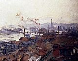 era Canvas Paintings - General View Of Rouen From St Catherine s Bank