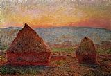 Sunset Canvas Paintings - Grainstacks_ Sunset