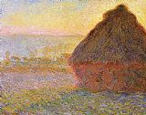 Sunset Canvas Paintings - Haystacks, sunset