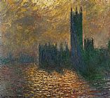 Claude Monet Houses of Parliament Stormy Sky painting