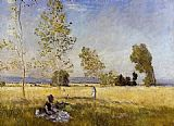 Claude Monet Meadow at Bezons painting