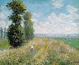 pop Canvas Paintings - Meadow with Poplars