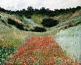 Field Canvas Paintings - Poppy Field In A Hollow Near Giverny