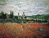 Field Canvas Paintings - Poppy Field near Vetheuil