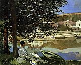 Claude Monet River Scene at Bennecourt painting