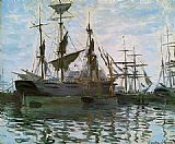 Claude Monet Ships in Harbor painting