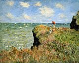 Claude Monet Stroll At The Rocks Of Pourville painting