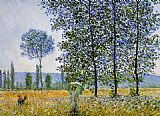 Claude Monet Sunlight effect poplars painting