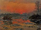 set Canvas Paintings - Sunset on the Seine in Winter