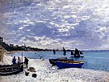 beach Canvas Paintings - The Beach At Sainte-Adresse