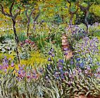 Famous Garden Paintings - The Iris Garden at Giverny