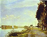 Path Canvas Paintings - The Riverside Path at Argenteuil