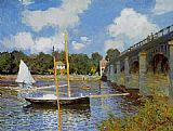 Road Canvas Paintings - The Road Bridge at Argenteuil 1
