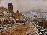 Winter Canvas Paintings - The Road in Vetheuil in Winter