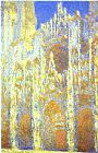 light Canvas Paintings - The Rouen Cathedral at Twilight