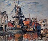 Canal Canvas Paintings - The Windmill on the Onbekende Canal Amsterdam