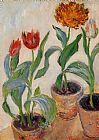 Claude Monet Three Pots of Tulips painting