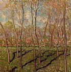 Winter Canvas Paintings - Trees in Winter View of Bennecourt