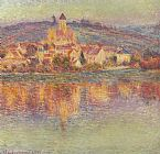 Claude Monet Vetheuil at Sunset painting