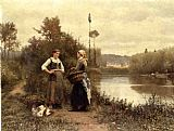 Daniel Ridgway Knight A Conversation painting