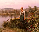 Woman Canvas Paintings - A Woman with a Watering Can by the River