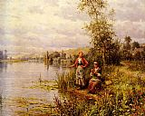 Summer Canvas Paintings - Country Women Fishing on a Summer Afternoon