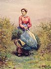 Daniel Ridgway Knight Gathering Leaves painting