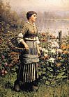 flowers Canvas Paintings - Maid Among the Flowers