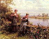 del Canvas Paintings - Maria And Madeleine Fishing