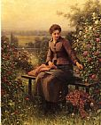 Famous Seated Paintings - Seated Girl with Flowers