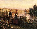 Daniel Ridgway Knight Stopping for Conversation painting