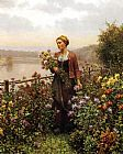 Woman Canvas Paintings - Woman in a Garden