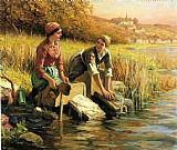 Famous Stream Paintings - Women Washing Clothes by a Stream