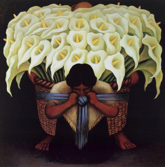 Vendedora de Alcatraces -Diego Rivera #mexican #art www