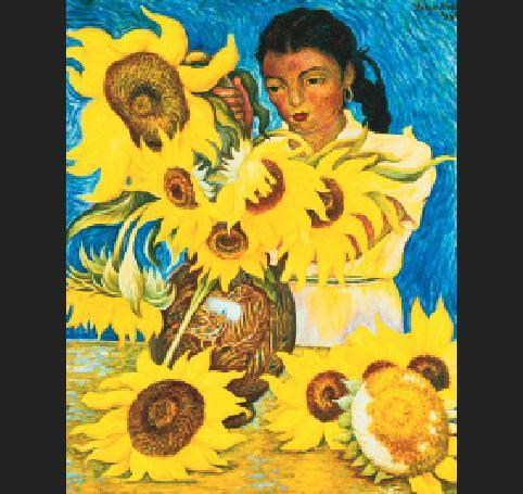 Diego Rivera Muchacha con Girasoles (Girl with Sunflowers)