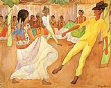 Diego Rivera Canvas Paintings - Baile en The