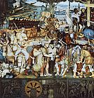 Diego Rivera Canvas Paintings - Disembarkation of the Spanish at Vera Cruz (with Portrait of Cortez as a Hunchback)
