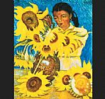 Diego Rivera Famous Paintings - Muchacha con Girasoles (Girl with Sunflowers)