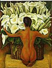 Diego Rivera Famous Paintings - Nude with Calla Lilies