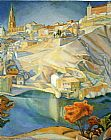 Diego Rivera Canvas Paintings - View of Toledo