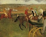 Edgar Degas At the Races Gentlemen Jockeys painting
