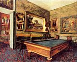 Edgar Degas Wall Art - The Billiard Room at Menil-Hubert