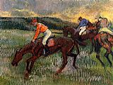 Edgar Degas Wall Art - Three Jockeys