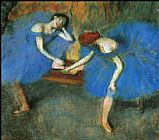 Blue Canvas Paintings - Two Dancers in Blue