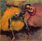 Yellow Canvas Paintings - Two Dancers in Yellow and Pink