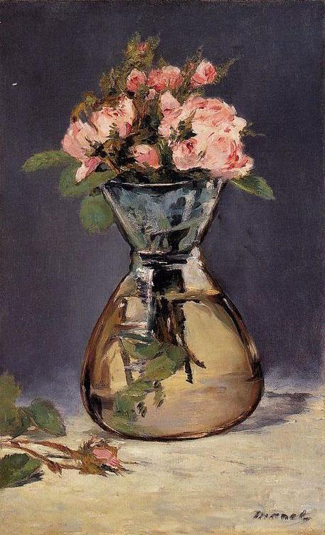 Edouard Manet Moss Roses In A Vase