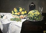 Edouard Manet Still Life with Melon and Peaches painting